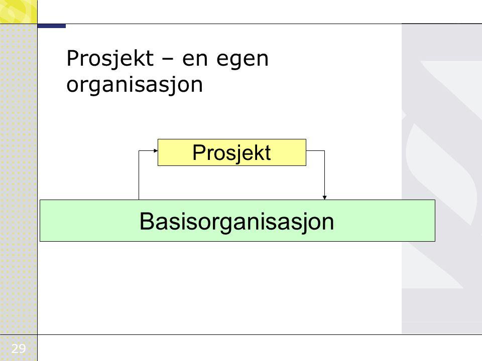 29 Prosjekt – en egen organisasjon Prosjekt Basisorganisasjon