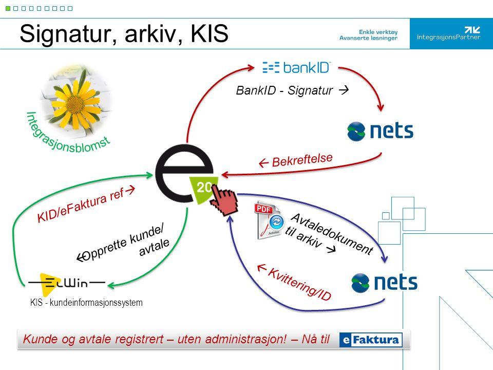 Signatur, arkiv, KIS BankID - Signatur   Bekreftelse  Kvittering/ID KID/eFaktura ref  Avtaledokument til arkiv   Opprette kunde/ avtale KIS - ku