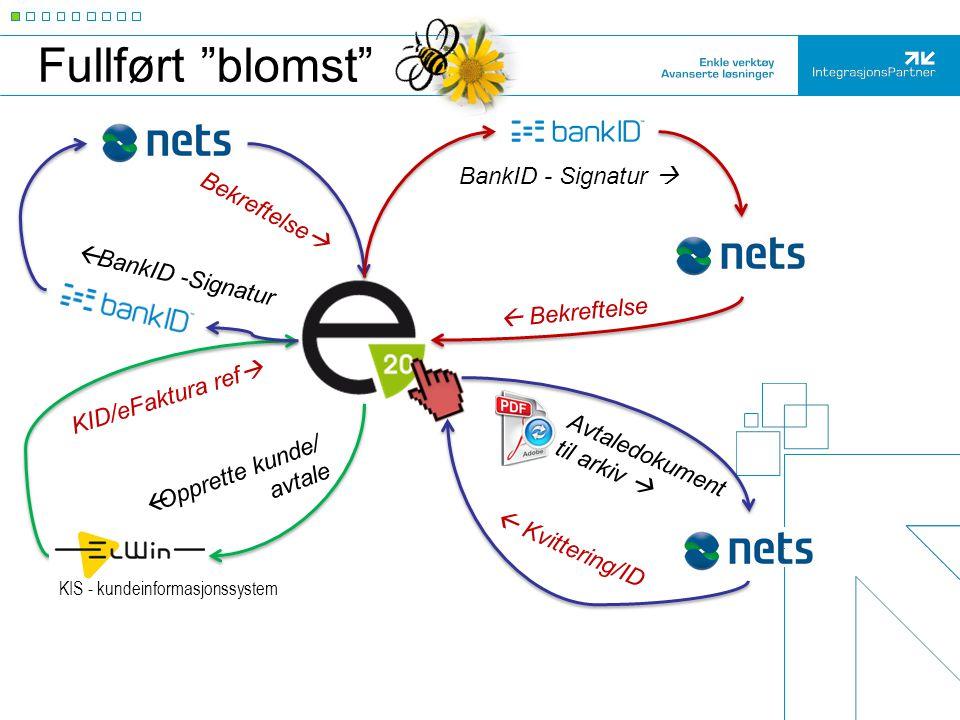"""Fullført """"blomst"""" Bekreftelse  BankID - Signatur   Bekreftelse  Kvittering/ID KID/eFaktura ref  Avtaledokument til arkiv  KIS - kundeinformasjon"""