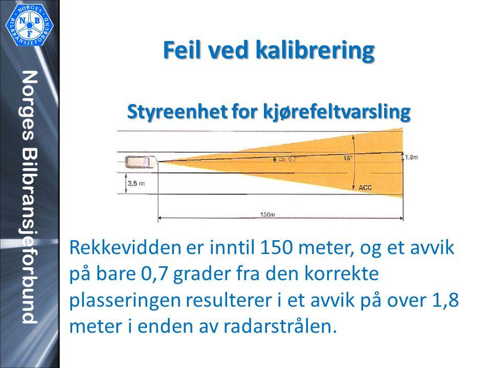 Feil ved kalibrering Styreenhet for kjørefeltvarsling Rekkevidden er inntil 150 meter, og et avvik på bare 0,7 grader fra den korrekte plasseringen resulterer i et avvik på over 1,8 meter i enden av radarstrålen.