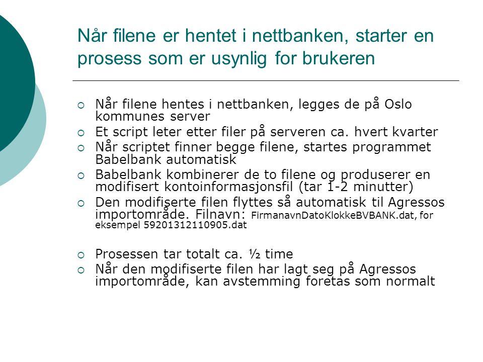 Når filene er hentet i nettbanken, starter en prosess som er usynlig for brukeren  Når filene hentes i nettbanken, legges de på Oslo kommunes server  Et script leter etter filer på serveren ca.