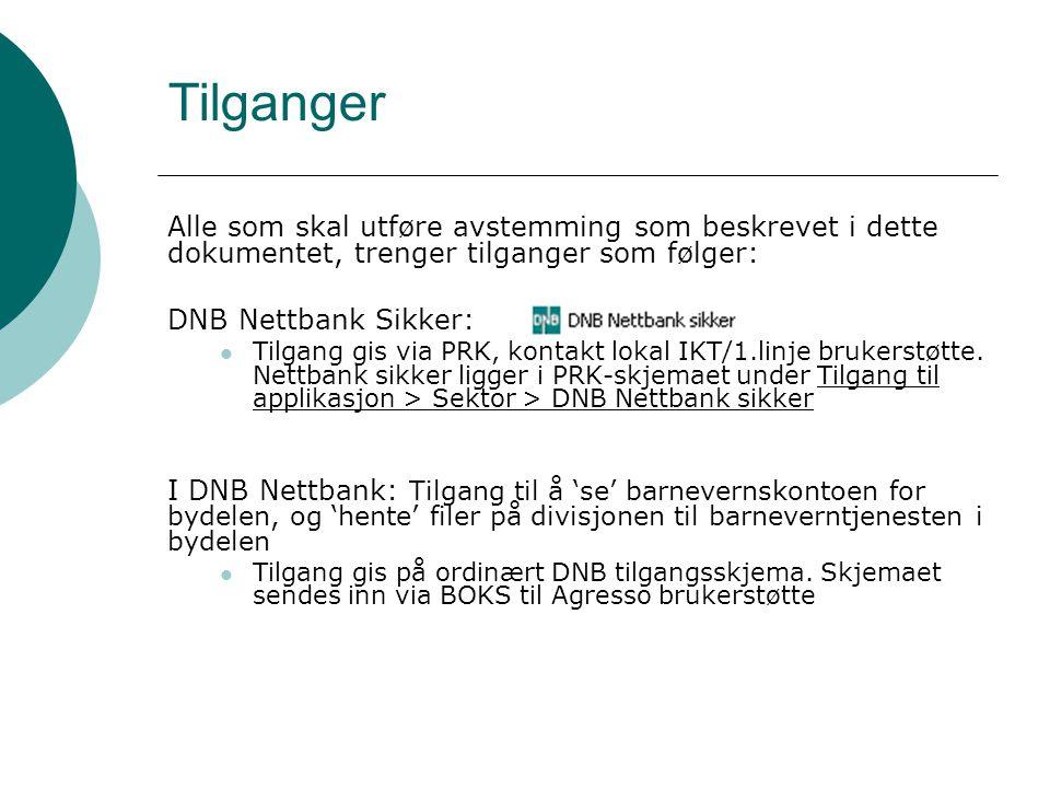 Tilganger Alle som skal utføre avstemming som beskrevet i dette dokumentet, trenger tilganger som følger: DNB Nettbank Sikker:  Tilgang gis via PRK, kontakt lokal IKT/1.linje brukerstøtte.