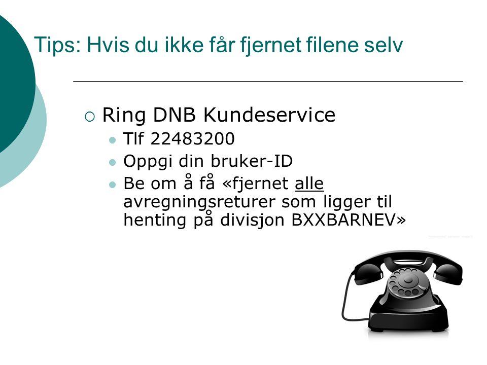 Tips: Hvis du ikke får fjernet filene selv  Ring DNB Kundeservice  Tlf 22483200  Oppgi din bruker-ID  Be om å få «fjernet alle avregningsreturer som ligger til henting på divisjon BXXBARNEV»