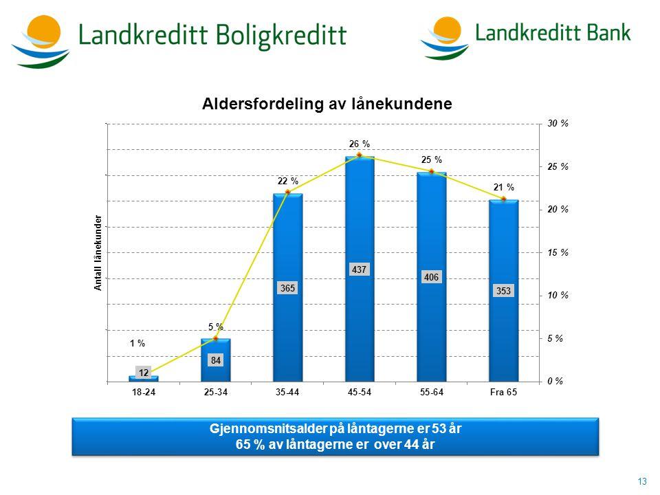 13 Gjennomsnitsalder på låntagerne er 53 år 65 % av låntagerne er over 44 år Gjennomsnitsalder på låntagerne er 53 år 65 % av låntagerne er over 44 år