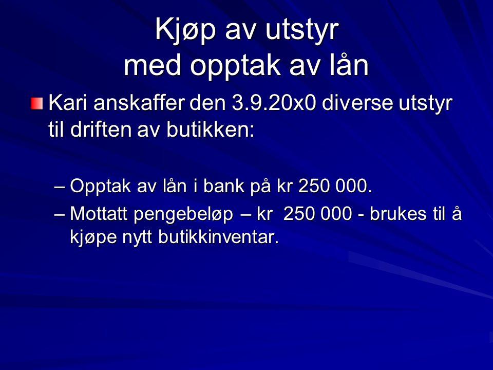 Kjøp av utstyr med opptak av lån Kari anskaffer den 3.9.20x0 diverse utstyr til driften av butikken: –Opptak av lån i bank på kr 250 000. –Mottatt pen