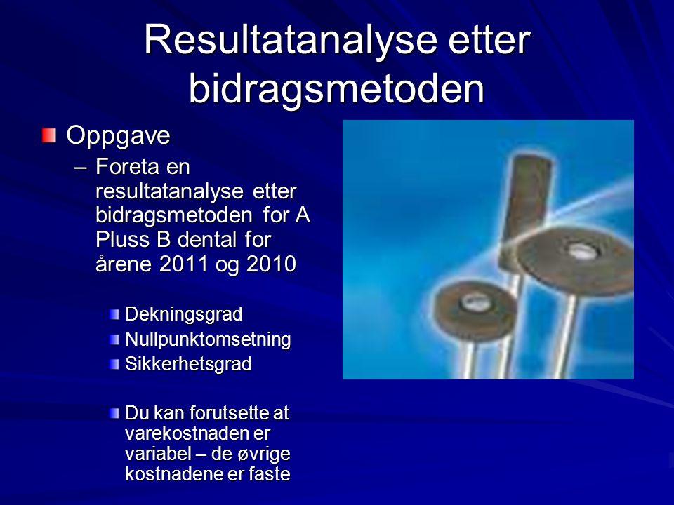 Resultatanalyse etter bidragsmetoden Oppgave –Foreta en resultatanalyse etter bidragsmetoden for A Pluss B dental for årene 2011 og 2010 DekningsgradN