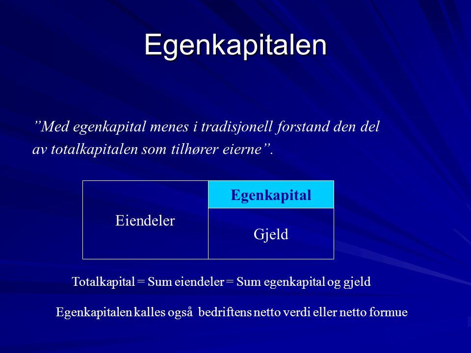 """Egenkapitalen """"Med egenkapital menes i tradisjonell forstand den del av totalkapitalen som tilhører eierne"""". Eiendeler Egenkapital Gjeld Totalkapital"""