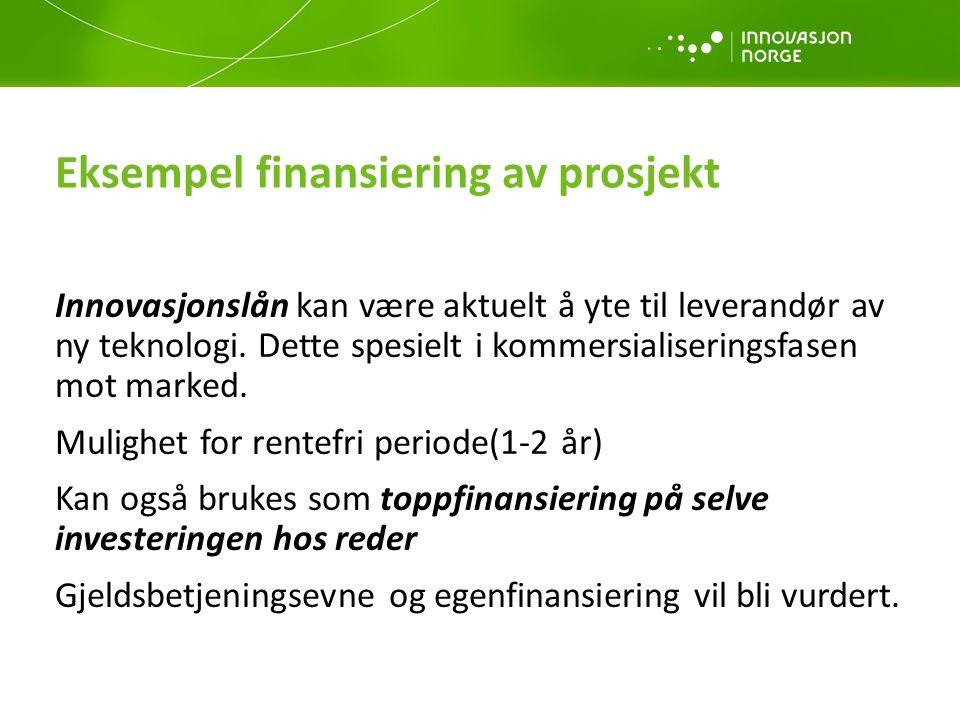 Eksempel finansiering av prosjekt Innovasjonslån kan være aktuelt å yte til leverandør av ny teknologi.
