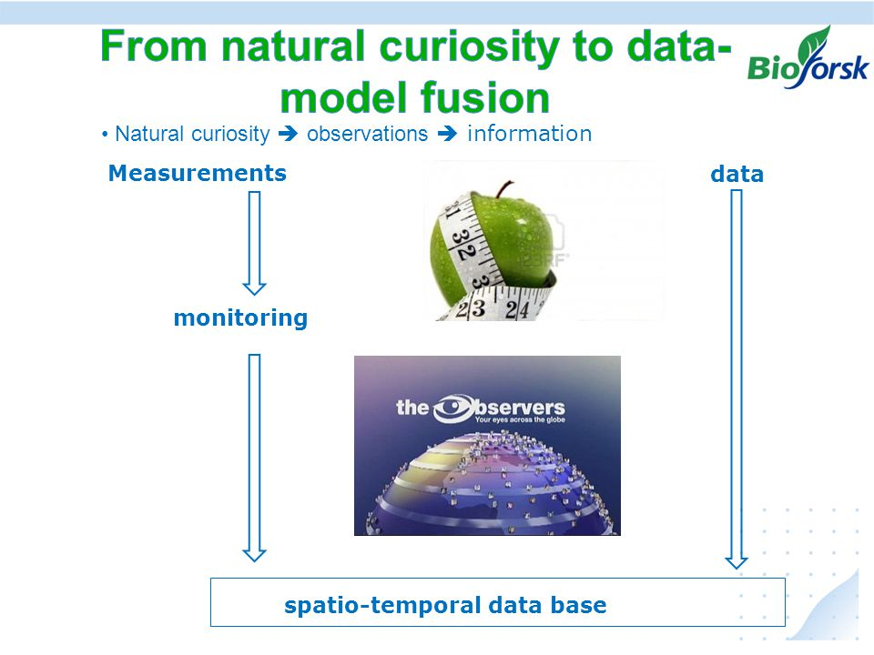 Ekstremer i avrenning under klima endringer, hvordan kan vi anvende resultater fra JOVA - programmet • Natural curiosity  observations  information Measurements monitoring data spatio-temporal data base