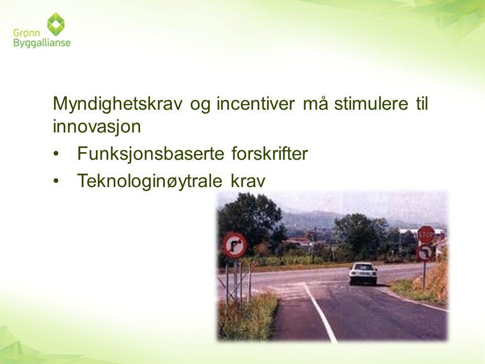 Myndighetskrav og incentiver må stimulere til innovasjon •Funksjonsbaserte forskrifter •Teknologinøytrale krav