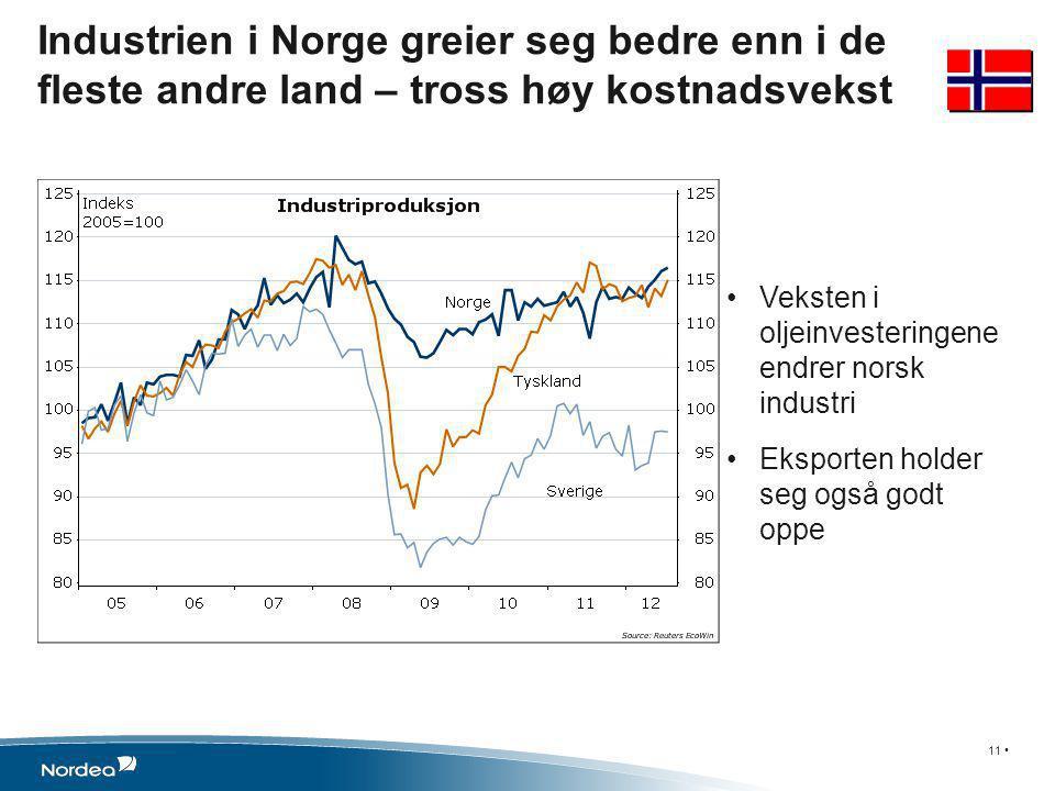 •Veksten i oljeinvesteringene endrer norsk industri •Eksporten holder seg også godt oppe Industrien i Norge greier seg bedre enn i de fleste andre land – tross høy kostnadsvekst 11 •