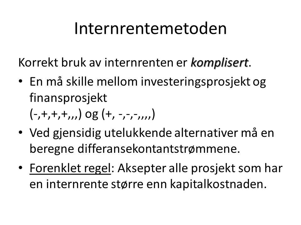 Internrentemetoden komplisert Korrekt bruk av internrenten er komplisert. • En må skille mellom investeringsprosjekt og finansprosjekt (-,+,+,+,,,) og