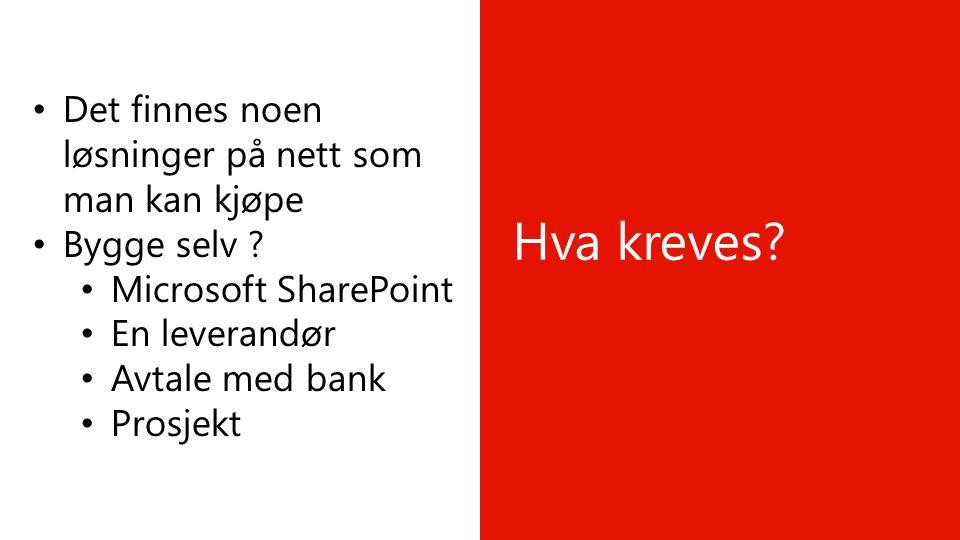 Hva kreves? • Det finnes noen løsninger på nett som man kan kjøpe • Bygge selv ? • Microsoft SharePoint • En leverandør • Avtale med bank • Prosjekt