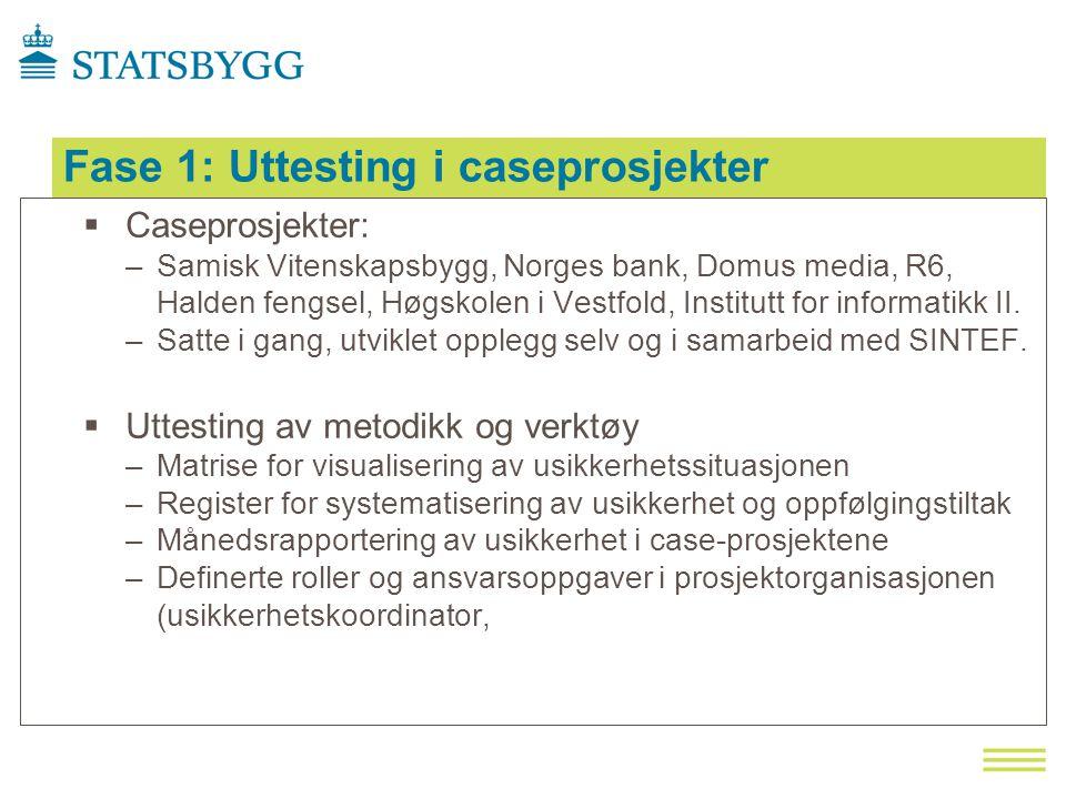 Fase 1: Uttesting i caseprosjekter  Caseprosjekter: –Samisk Vitenskapsbygg, Norges bank, Domus media, R6, Halden fengsel, Høgskolen i Vestfold, Institutt for informatikk II.