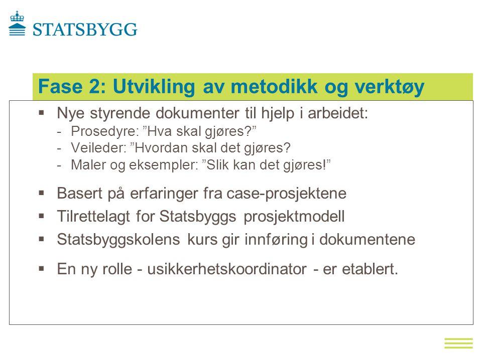 Fase 2: Utvikling av metodikk og verktøy  Nye styrende dokumenter til hjelp i arbeidet: -Prosedyre: Hva skal gjøres? -Veileder: Hvordan skal det gjøres.