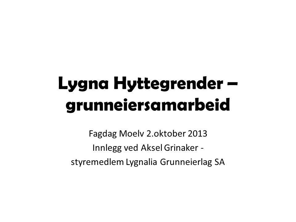 Lygna Hyttegrender – grunneiersamarbeid Fagdag Moelv 2.oktober 2013 Innlegg ved Aksel Grinaker - styremedlem Lygnalia Grunneierlag SA