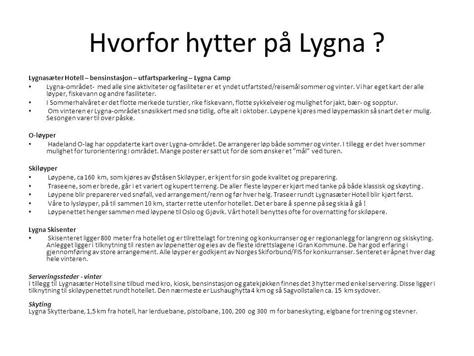Hvorfor hytter på Lygna ? Lygnasæter Hotell – bensinstasjon – utfartsparkering – Lygna Camp • Lygna-området- med alle sine aktiviteter og fasiliteter