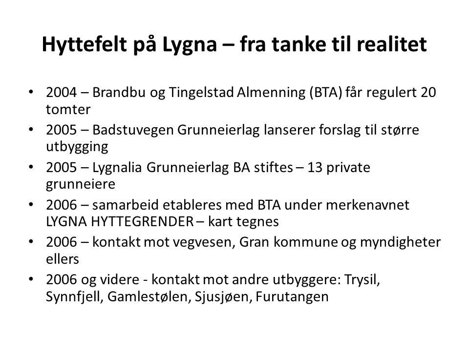 Hyttefelt på Lygna – fra tanke til realitet • 2004 – Brandbu og Tingelstad Almenning (BTA) får regulert 20 tomter • 2005 – Badstuvegen Grunneierlag la