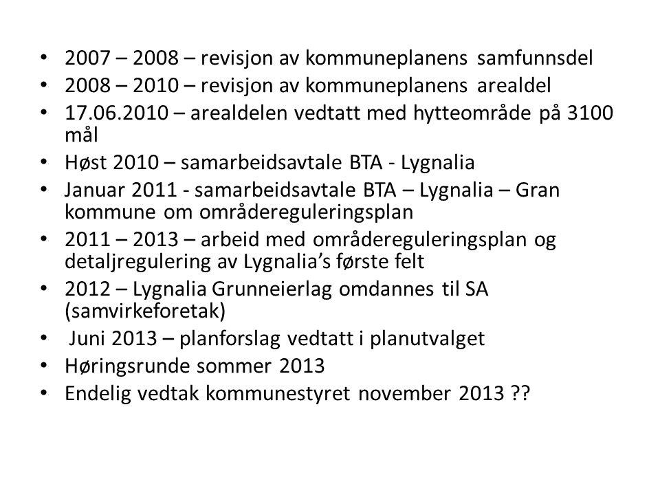 • 2007 – 2008 – revisjon av kommuneplanens samfunnsdel • 2008 – 2010 – revisjon av kommuneplanens arealdel • 17.06.2010 – arealdelen vedtatt med hytte