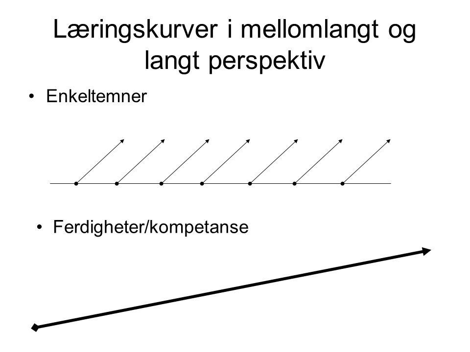Læringskurver i mellomlangt og langt perspektiv •Enkeltemner • Ferdigheter/kompetanse