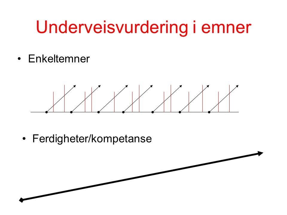 Underveisvurdering i emner •Enkeltemner • Ferdigheter/kompetanse