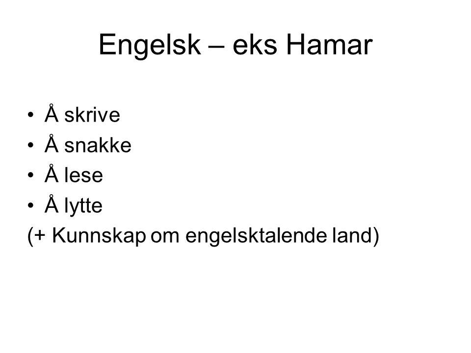 Engelsk – eks Hamar •Å skrive •Å snakke •Å lese •Å lytte (+ Kunnskap om engelsktalende land)