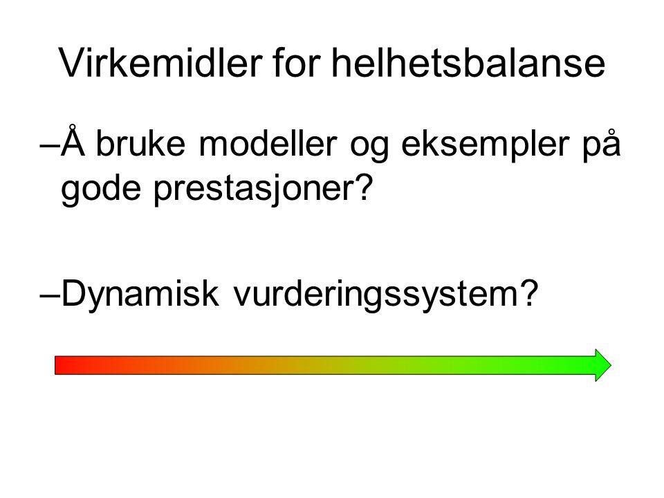 Virkemidler for helhetsbalanse –Å bruke modeller og eksempler på gode prestasjoner? –Dynamisk vurderingssystem?