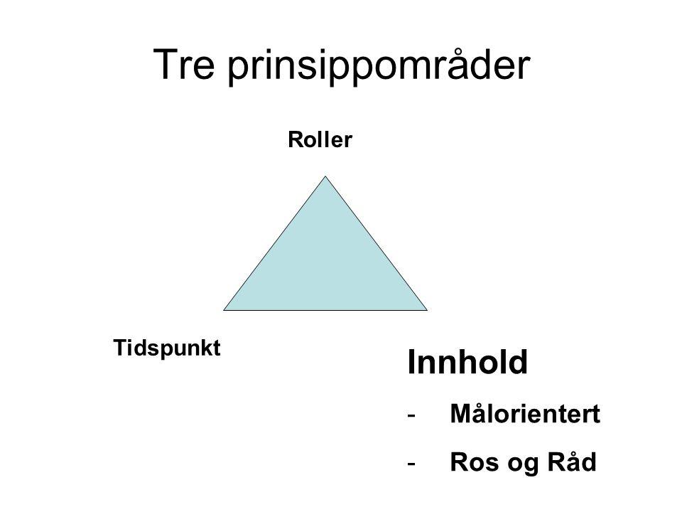 Tre prinsippområder Roller Tidspunkt Innhold -Målorientert -Ros og Råd