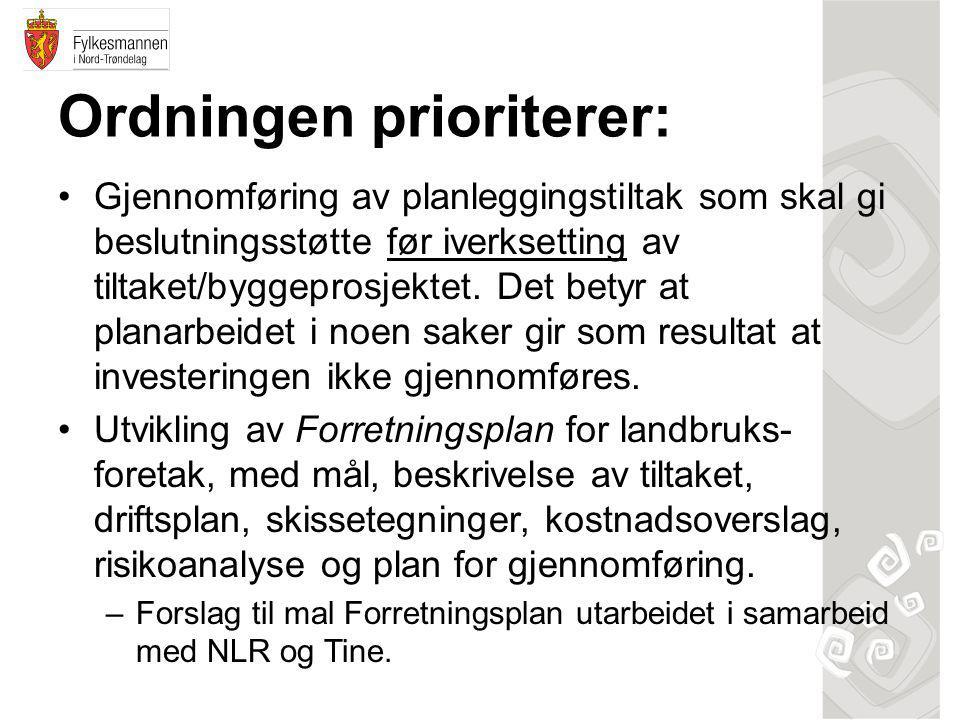 Ordningen prioriterer: •Gjennomføring av planleggingstiltak som skal gi beslutningsstøtte før iverksetting av tiltaket/byggeprosjektet.