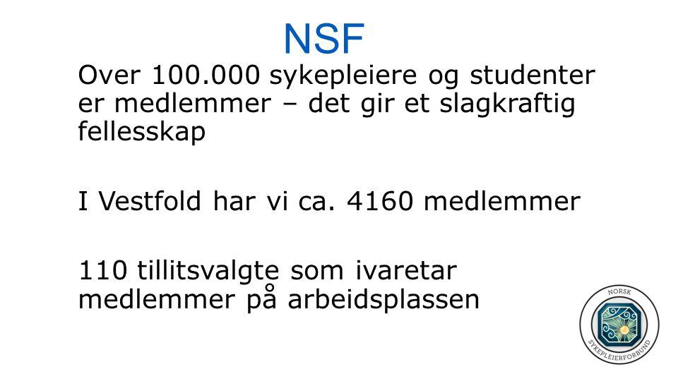NSF Over 100.000 sykepleiere og studenter er medlemmer – det gir et slagkraftig fellesskap I Vestfold har vi ca. 4160 medlemmer 110 tillitsvalgte som