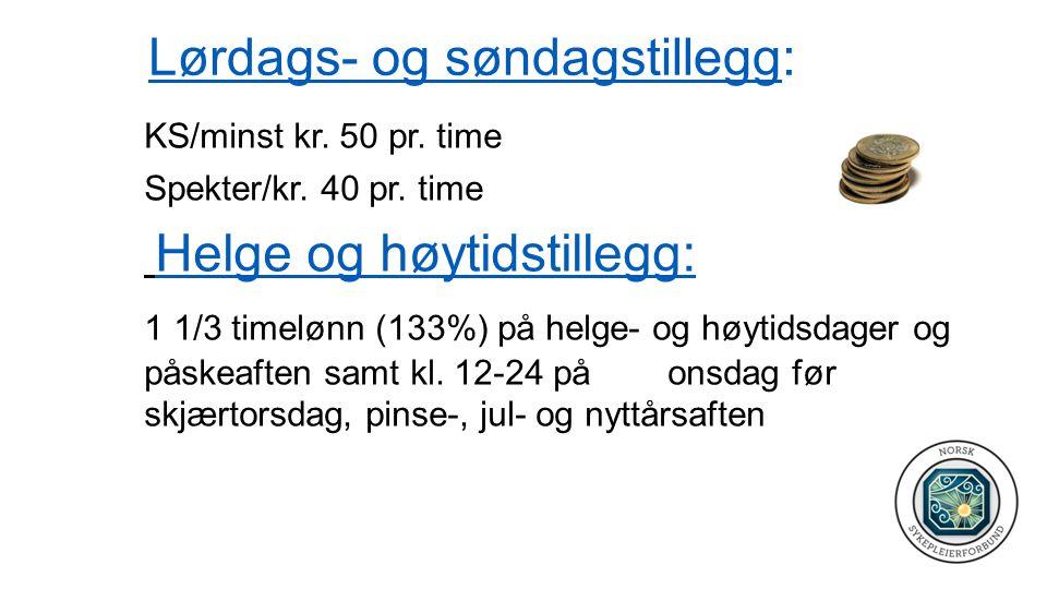 Lørdags- og søndagstillegg: KS/minst kr.50 pr. time Spekter/kr.