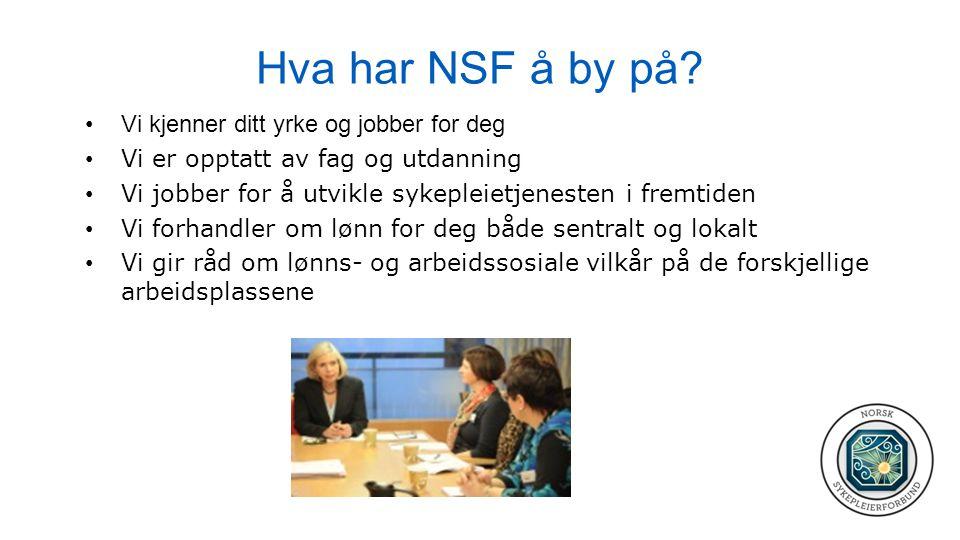 Hva har NSF å by på? •Vi kjenner ditt yrke og jobber for deg • Vi er opptatt av fag og utdanning • Vi jobber for å utvikle sykepleietjenesten i fremti