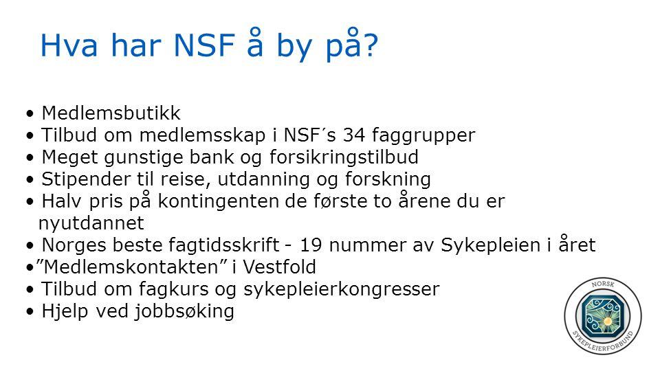 Hva har NSF å by på? • Medlemsbutikk • Tilbud om medlemsskap i NSF´s 34 faggrupper • Meget gunstige bank og forsikringstilbud • Stipender til reise, u