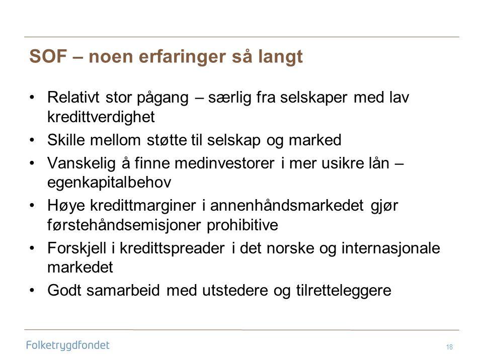 18 SOF – noen erfaringer så langt •Relativt stor pågang – særlig fra selskaper med lav kredittverdighet •Skille mellom støtte til selskap og marked •Vanskelig å finne medinvestorer i mer usikre lån – egenkapitalbehov •Høye kredittmarginer i annenhåndsmarkedet gjør førstehåndsemisjoner prohibitive •Forskjell i kredittspreader i det norske og internasjonale markedet •Godt samarbeid med utstedere og tilretteleggere