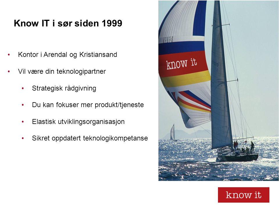 Know IT i sør siden 1999 •Kontor i Arendal og Kristiansand •Vil være din teknologipartner •Strategisk rådgivning •Du kan fokuser mer produkt/tjeneste •Elastisk utviklingsorganisasjon •Sikret oppdatert teknologikompetanse