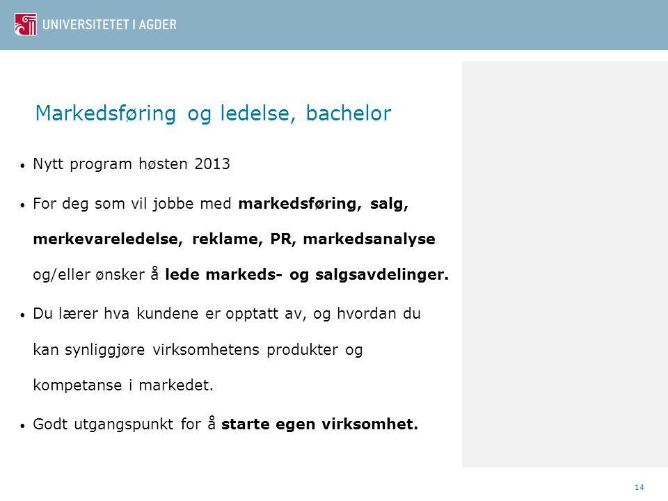 Markedsføring og ledelse, bachelor • Nytt program høsten 2013 • For deg som vil jobbe med markedsføring, salg, merkevareledelse, reklame, PR, markedsa