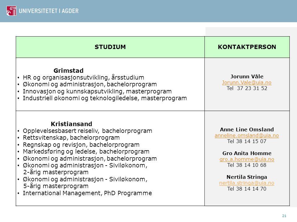 21 STUDIUMKONTAKTPERSON Grimstad • HR og organisasjonsutvikling, årsstudium • Økonomi og administrasjon, bachelorprogram • Innovasjon og kunnskapsutvi