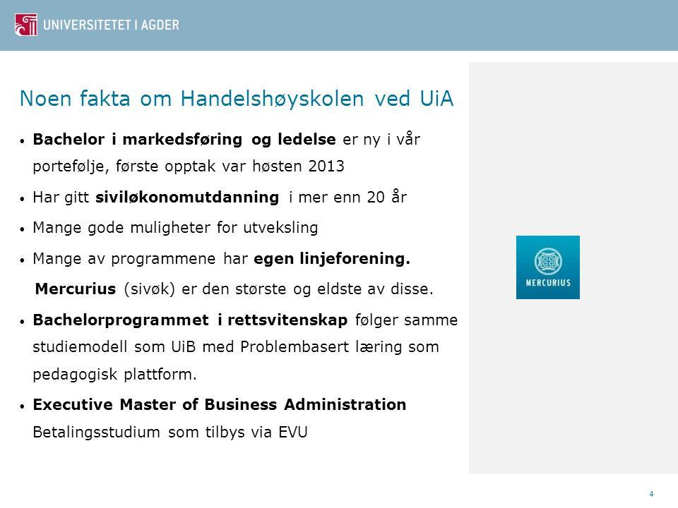 Noen fakta om Handelshøyskolen ved UiA • Bachelor i markedsføring og ledelse er ny i vår portefølje, første opptak var høsten 2013 • Har gitt siviløko