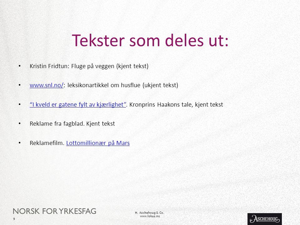Tekster som deles ut: • Kristin Fridtun: Fluge på veggen (kjent tekst) • www.snl.no/: leksikonartikkel om husflue (ukjent tekst) www.snl.no/ • I kveld er gatene fylt av kjærlighet .