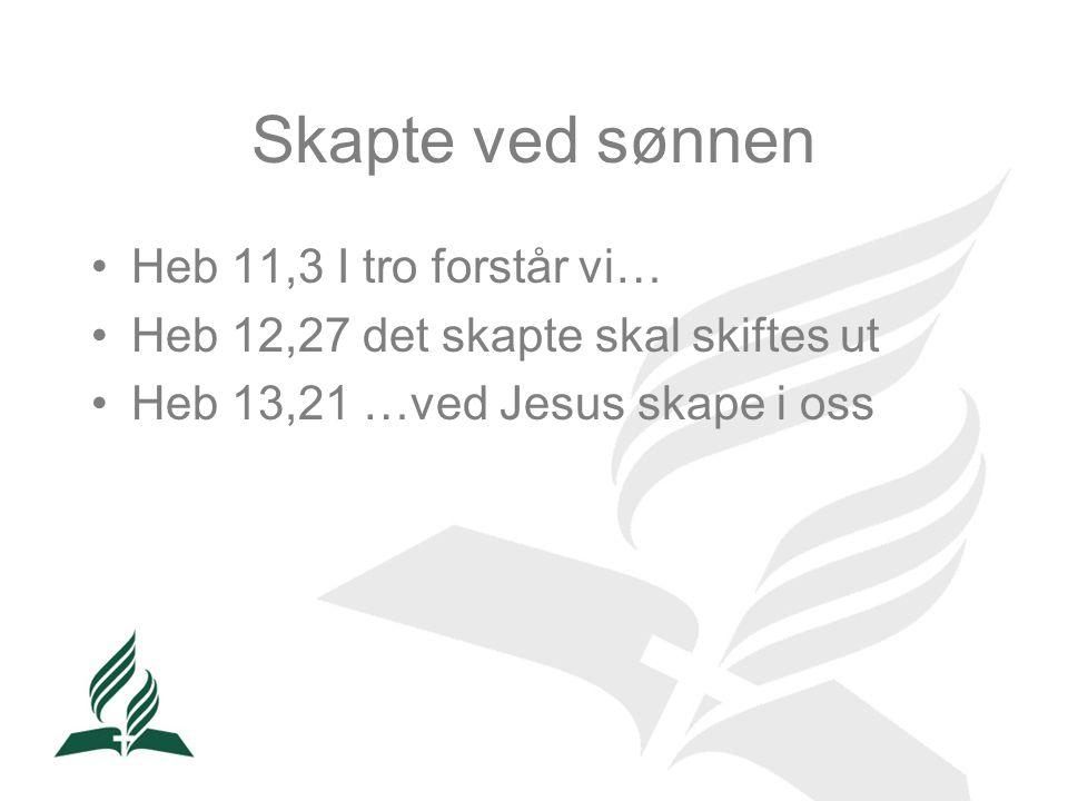 Skapte ved sønnen •Heb 11,3 I tro forstår vi… •Heb 12,27 det skapte skal skiftes ut •Heb 13,21 …ved Jesus skape i oss