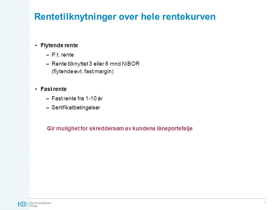 4 Rentetilknytninger over hele rentekurven •Flytende rente –P.t.