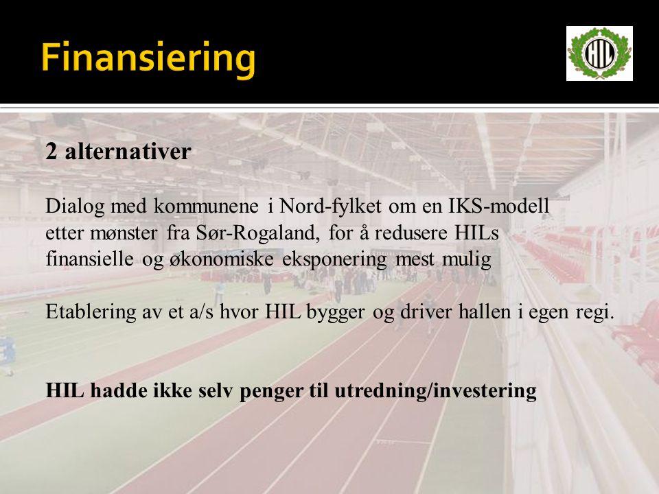 2 alternativer Dialog med kommunene i Nord-fylket om en IKS-modell etter mønster fra Sør-Rogaland, for å redusere HILs finansielle og økonomiske eksponering mest mulig Etablering av et a/s hvor HIL bygger og driver hallen i egen regi.