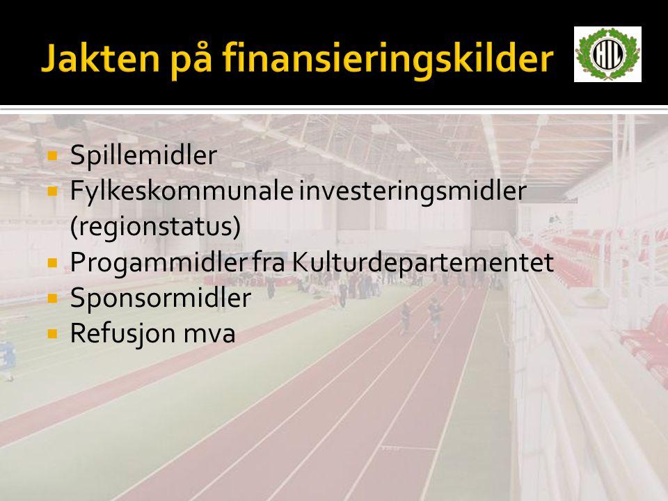  Spillemidler  Fylkeskommunale investeringsmidler (regionstatus)  Progammidler fra Kulturdepartementet  Sponsormidler  Refusjon mva