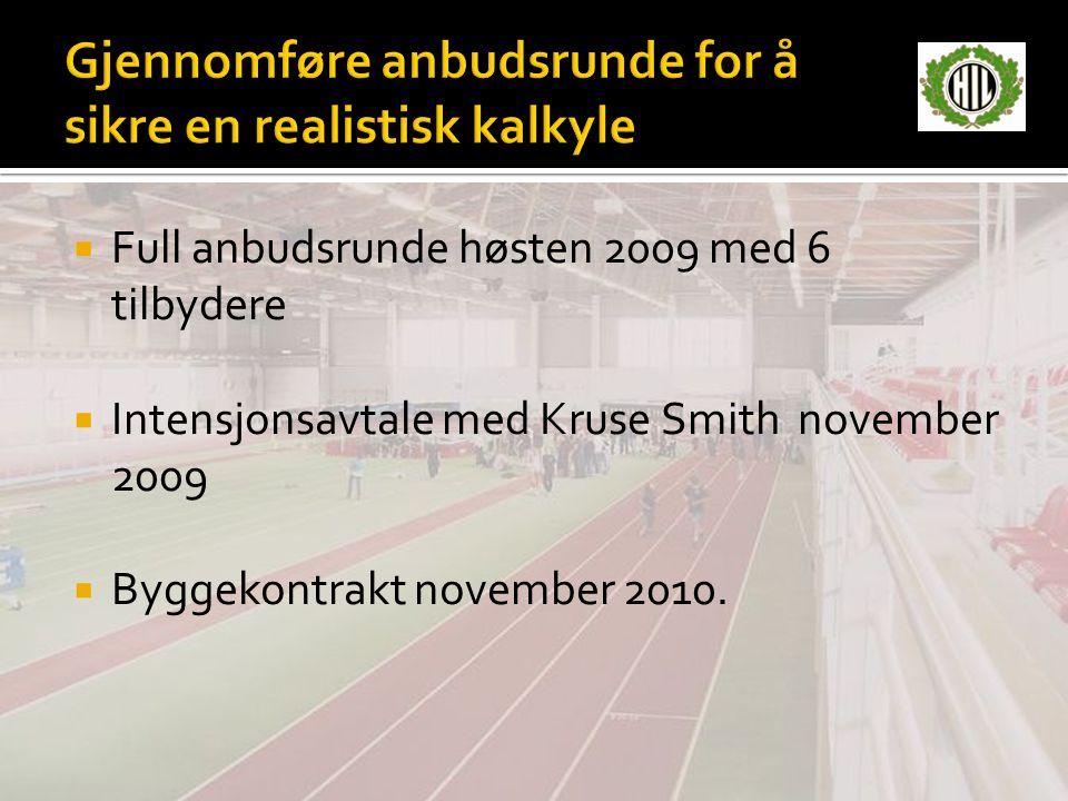  Full anbudsrunde høsten 2009 med 6 tilbydere  Intensjonsavtale med Kruse Smith november 2009  Byggekontrakt november 2010.