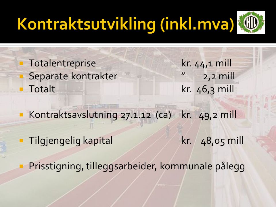  Totalentreprisekr. 44,1 mill  Separate kontrakter 2,2 mill  Totaltkr.
