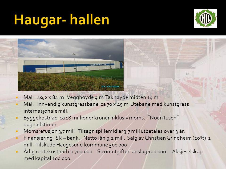  Mål: 49,2 x 84 m Vegghøyde 9 m Takhøyde midten 14 m  Mål: Innvendig kunstgressbane ca 70 x 45 m Utebane med kunstgress internasjonale mål.