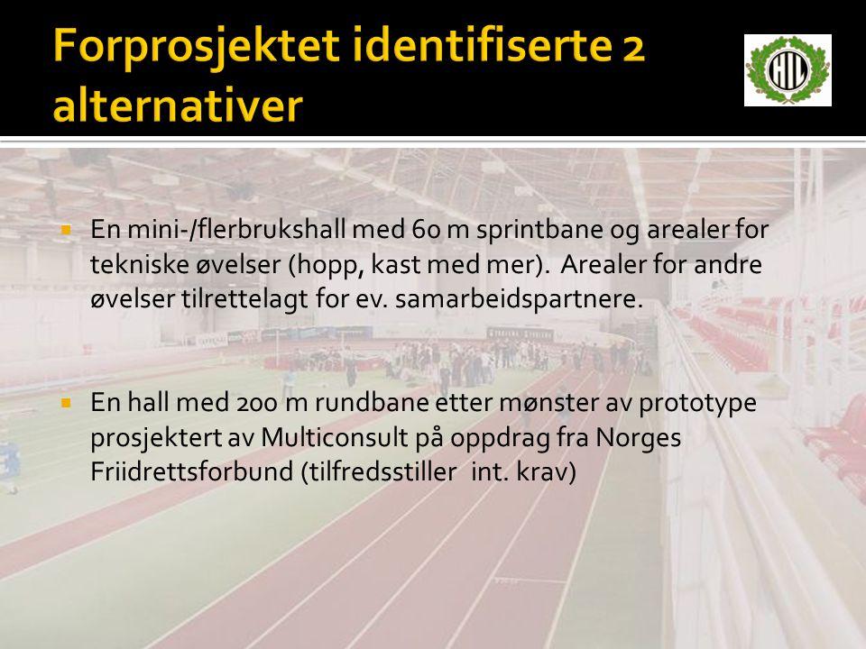  En mini-/flerbrukshall med 60 m sprintbane og arealer for tekniske øvelser (hopp, kast med mer).