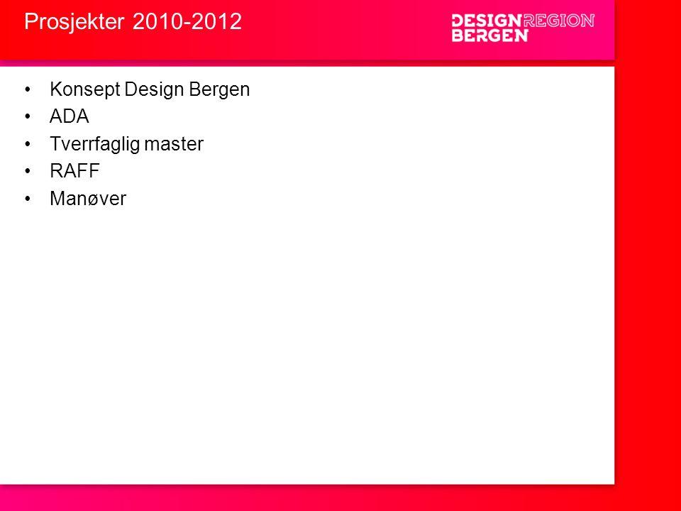 Prosjekter 2010-2012 •Konsept Design Bergen •ADA •Tverrfaglig master •RAFF •Manøver