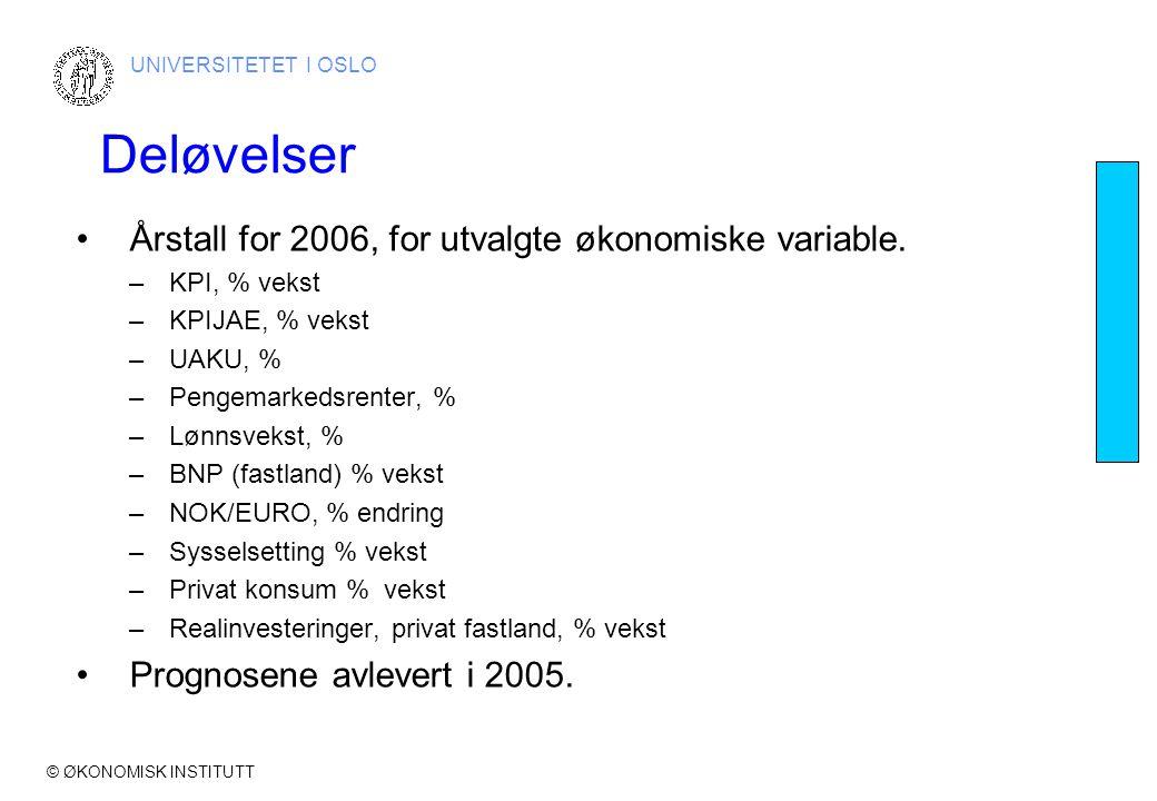 © ØKONOMISK INSTITUTT UNIVERSITETET I OSLO Deløvelser •Årstall for 2006, for utvalgte økonomiske variable.