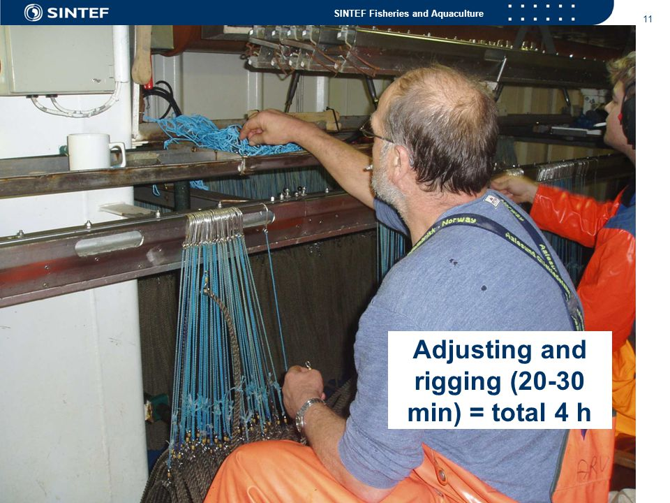SINTEF Fisheries and Aquaculture 11 Adjusting and rigging (20-30 min) = total 4 h
